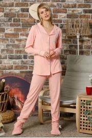 Kadın Somon Düğmeli Uzun Kol Pamuklu Likralı Pijama Takım