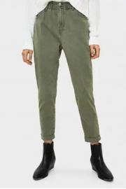 Kadın Haki Beli Elastik Pantolon