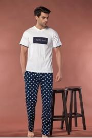 Erkek Ekru Pijama Takımı Kısa Kol