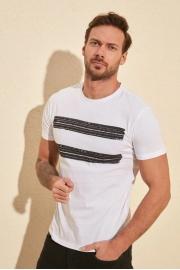 Beyaz Erkek Baskılı Slim Fit T-Shirt
