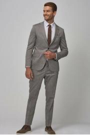 Erkek Antrasit Slim Fit Desenli Takım Elbise