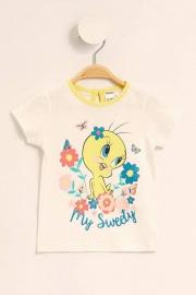 Ekru Kız Bebek Tweety Baskılı Lisanslı Kısa Kollu T-Shirt